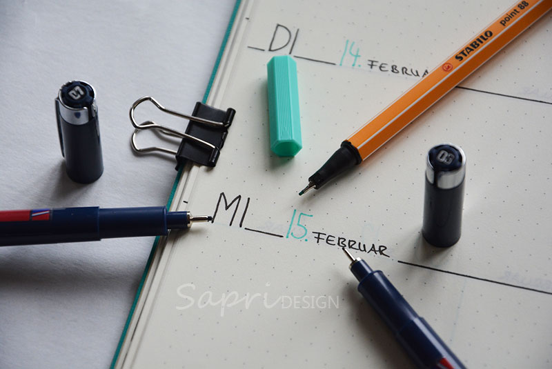 sapri-design-blog-bullet-journal-journaling-bujo-wochenübersicht-einkaufsliste-stabilo-edding-fineliner-kalender-planer-planner-3